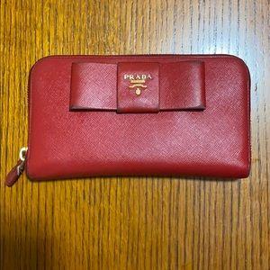 Red Prada Saffiano Wallet